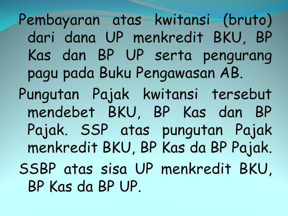Pembayaran atas kwitansi (bruto) dari dana UP menkredit BKU, BP Kas dan BP UP serta pengurang pagu pada Buku Pengawasan AB. Pungutan Pajak kwitansi te