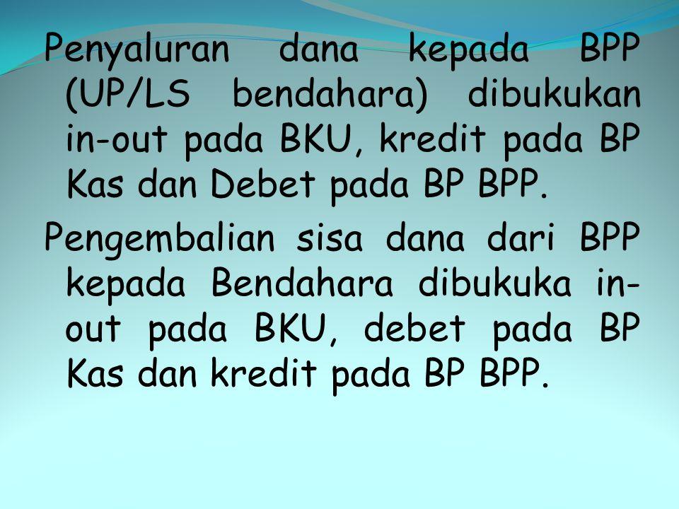 Penyaluran dana kepada BPP (UP/LS bendahara) dibukukan in-out pada BKU, kredit pada BP Kas dan Debet pada BP BPP. Pengembalian sisa dana dari BPP kepa
