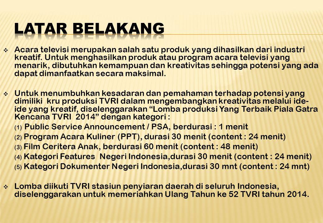 1.Program Kerja Satker Kreativitas & Pemandu Bakat, Bidang Penunjang Program & Berita, Direktorat Program & Berita LPP TVRI tahun 2014.