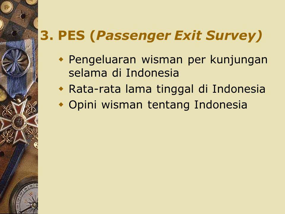 3. PES (Passenger Exit Survey)  Pengeluaran wisman per kunjungan selama di Indonesia  Rata-rata lama tinggal di Indonesia  Opini wisman tentang Ind