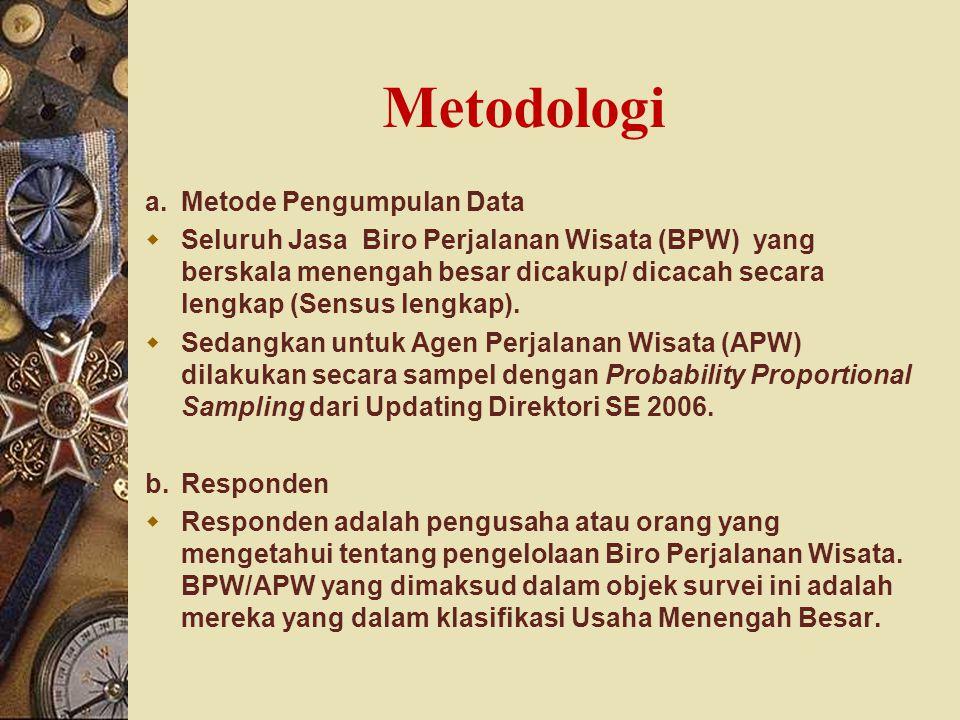 Metodologi a.Metode Pengumpulan Data  Seluruh Jasa Biro Perjalanan Wisata (BPW) yang berskala menengah besar dicakup/ dicacah secara lengkap (Sensus