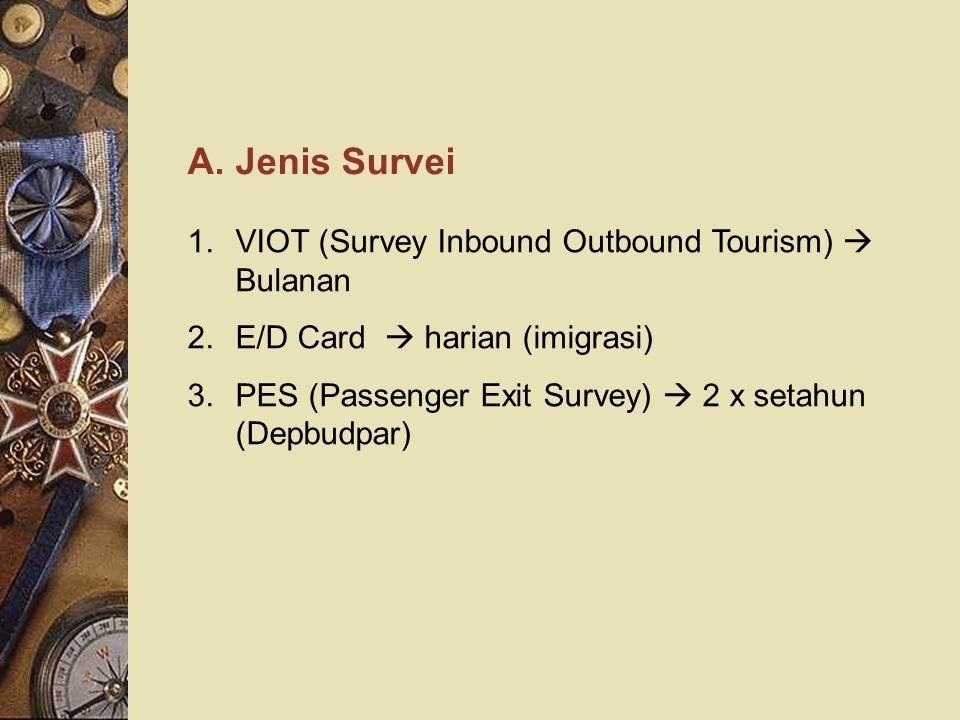 A. Jenis Survei 1.VIOT (Survey Inbound Outbound Tourism)  Bulanan 2.E/D Card  harian (imigrasi) 3.PES (Passenger Exit Survey)  2 x setahun (Depbudp