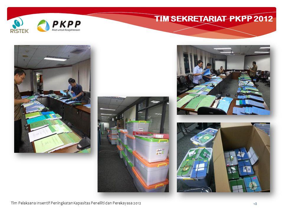 TIM SEKRETARIAT PKPP 2012 18 Tim Pelaksana Insentif Peningkatan Kapasitas Peneliiti dan Perekayasa 2012