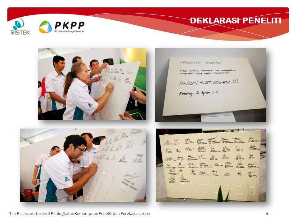 Tim Pelaksana Insentif Peningkatan Kemampuan Peneliti dan Perekayasa 2012 6 DEKLARASI PENELITI