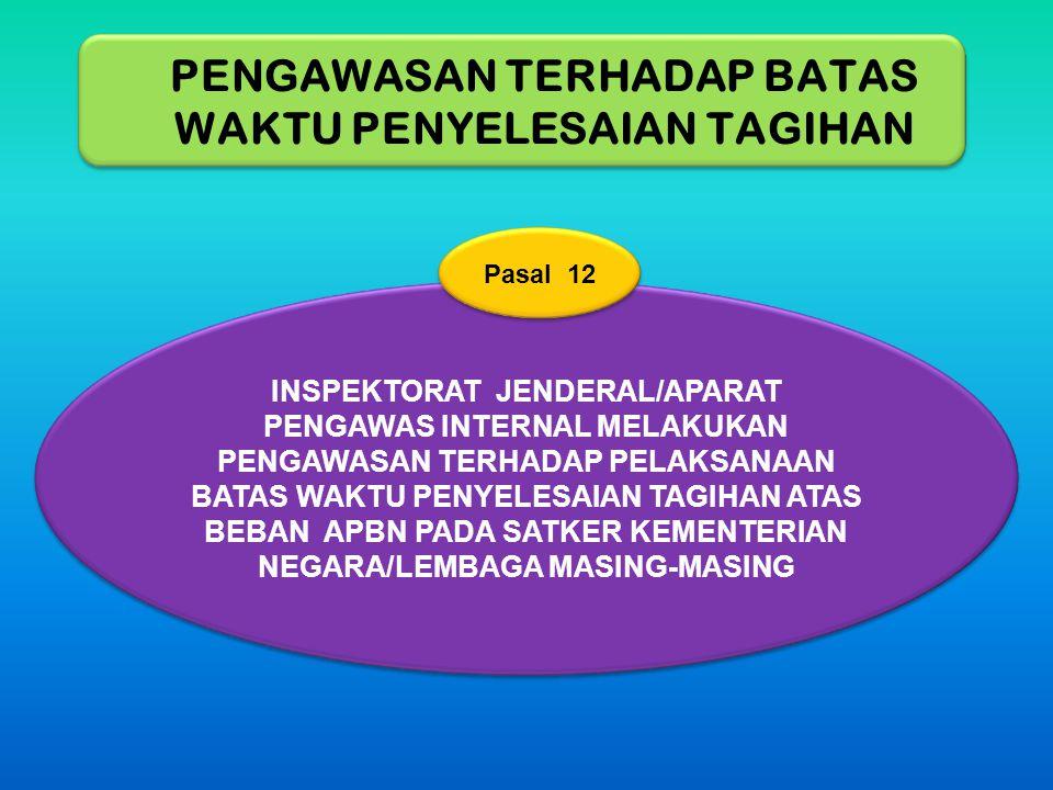 INSPEKTORAT JENDERAL/APARAT PENGAWAS INTERNAL MELAKUKAN PENGAWASAN TERHADAP PELAKSANAAN BATAS WAKTU PENYELESAIAN TAGIHAN ATAS BEBAN APBN PADA SATKER K