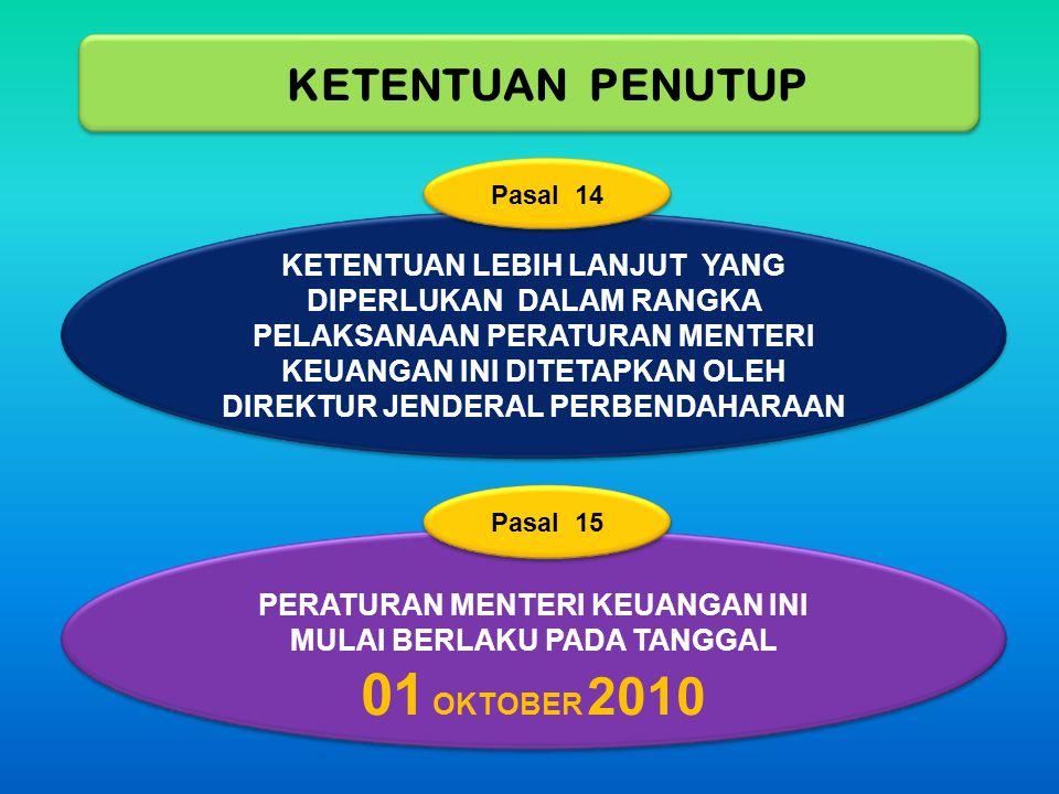 PERATURAN MENTERI KEUANGAN INI MULAI BERLAKU PADA TANGGAL 01 OKTOBER 2010 KETENTUAN PENUTUP KETENTUAN LEBIH LANJUT YANG DIPERLUKAN DALAM RANGKA PELAKS