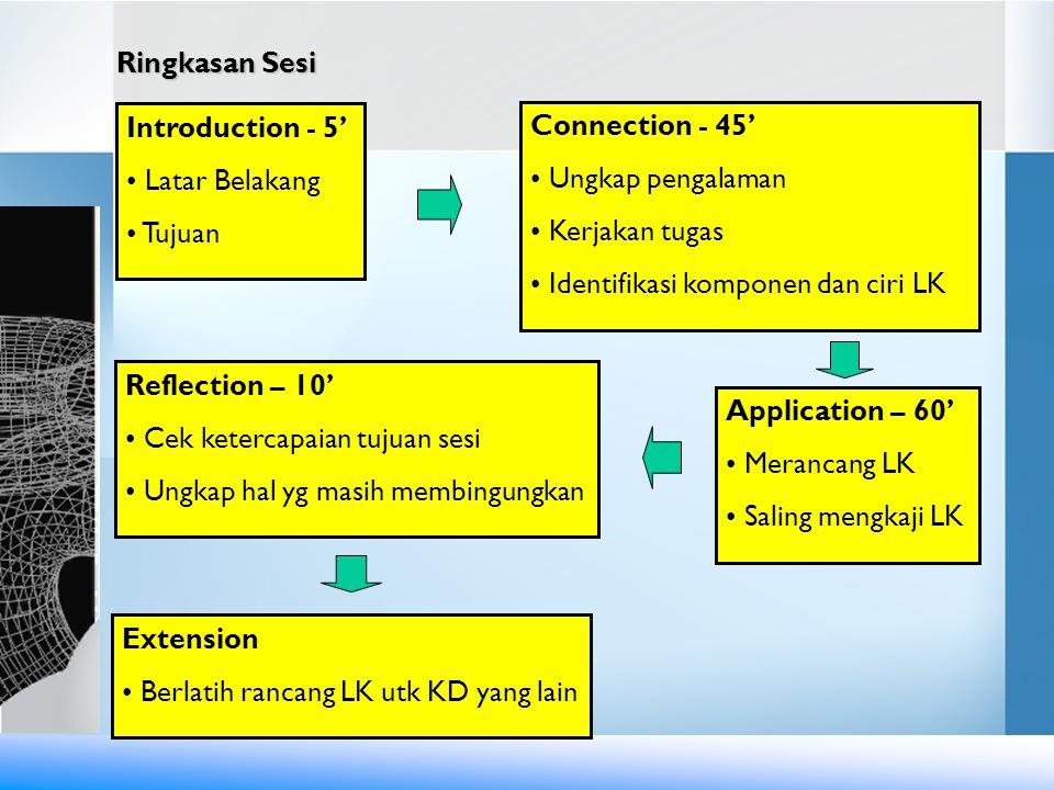 Ringkasan Sesi Extension • Berlatih rancang LK utk KD yang lain Introduction - 5' • Latar Belakang • Tujuan Extension • Berlatih rancang LK utk KD yan