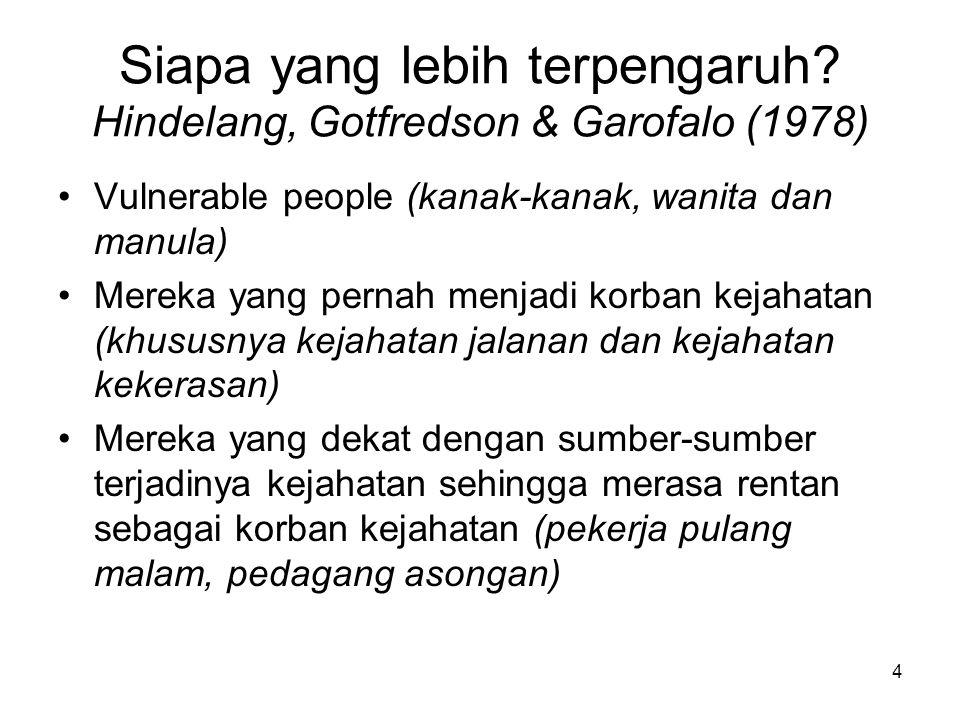 4 Siapa yang lebih terpengaruh? Hindelang, Gotfredson & Garofalo (1978) •Vulnerable people (kanak-kanak, wanita dan manula) •Mereka yang pernah menjad