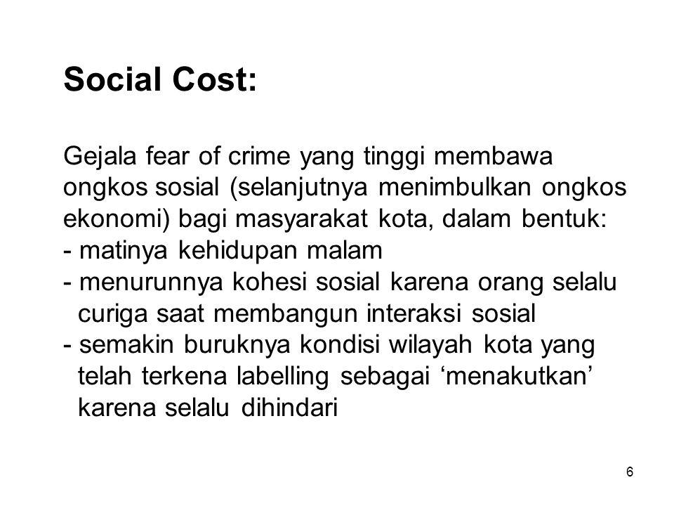 6 Social Cost: Gejala fear of crime yang tinggi membawa ongkos sosial (selanjutnya menimbulkan ongkos ekonomi) bagi masyarakat kota, dalam bentuk: - matinya kehidupan malam - menurunnya kohesi sosial karena orang selalu curiga saat membangun interaksi sosial - semakin buruknya kondisi wilayah kota yang telah terkena labelling sebagai 'menakutkan' karena selalu dihindari