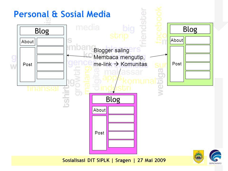 Sosialisasi DIT SIPLK | Sragen | 27 Mai 2009 Personal & Sosial Media Blog About Post Blog About Post Blog About Post Blogger saling Membaca mengutip, me-link  Komunitas