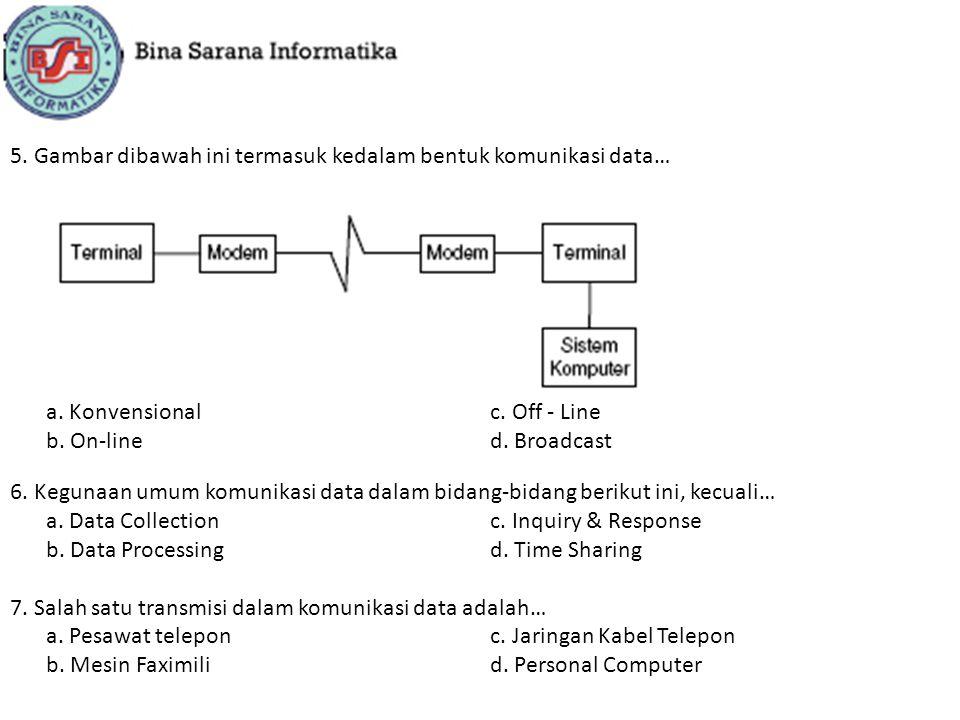 5. Gambar dibawah ini termasuk kedalam bentuk komunikasi data… a. Konvensionalc. Off - Line b. On-lined. Broadcast 6. Kegunaan umum komunikasi data da