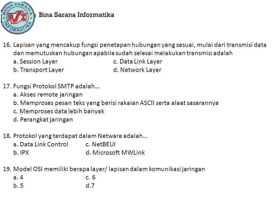 20.Pada lapisan ini dijelaskan proses routing (pengedaran) data diantara alamat jaringan a.