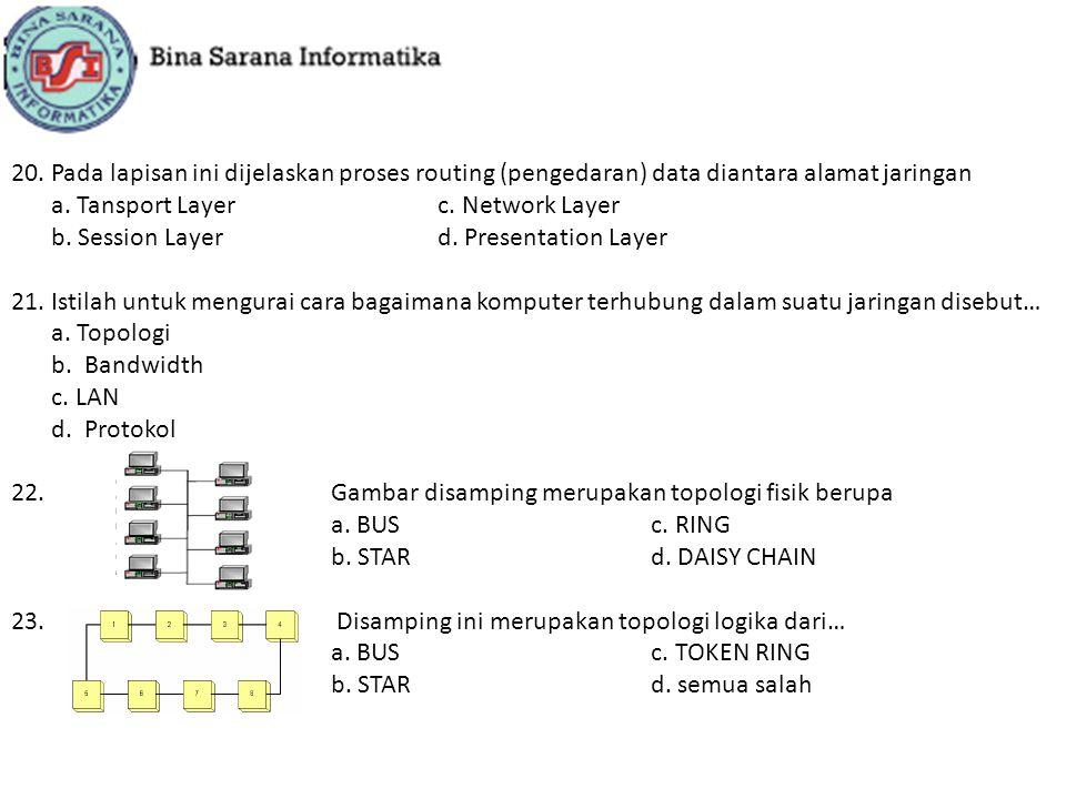 20.Pada lapisan ini dijelaskan proses routing (pengedaran) data diantara alamat jaringan a. Tansport Layerc. Network Layer b. Session Layerd. Presenta