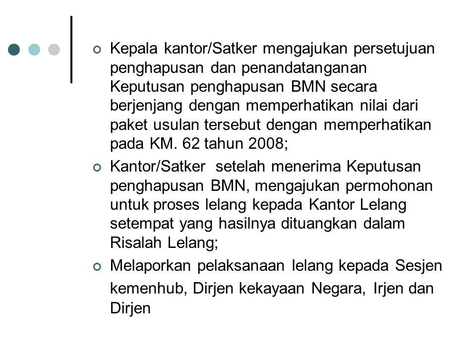 Kepala kantor/Satker mengajukan persetujuan penghapusan dan penandatanganan Keputusan penghapusan BMN secara berjenjang dengan memperhatikan nilai dari paket usulan tersebut dengan memperhatikan pada KM.
