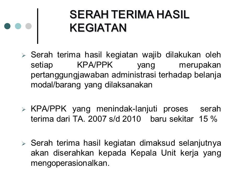  Serah terima hasil kegiatan wajib dilakukan oleh setiap KPA/PPK yang merupakan pertanggungjawaban administrasi terhadap belanja modal/barang yang dilaksanakan  KPA/PPK yang menindak-lanjuti proses serah terima dari TA.