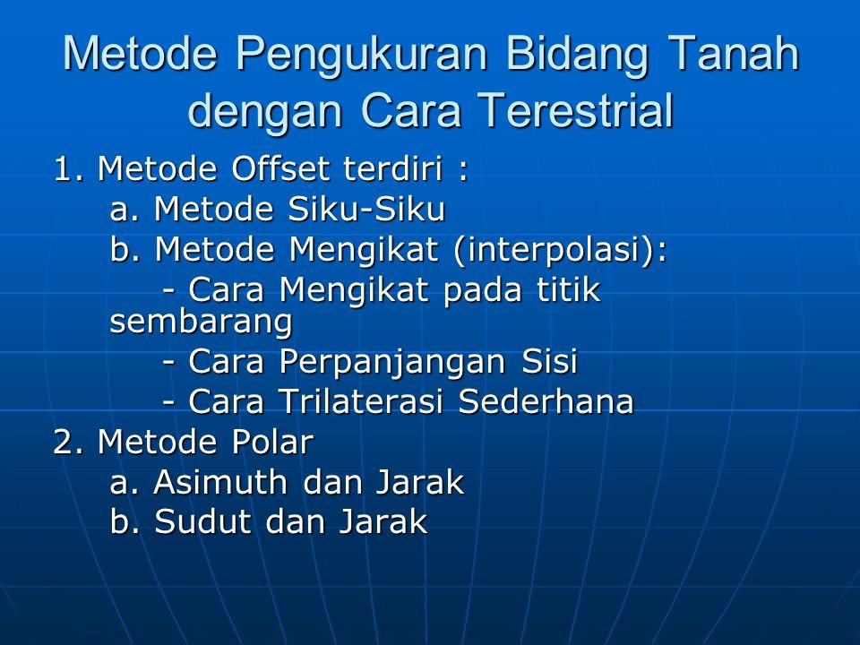 Metode Pengukuran Bidang Tanah dengan Cara Terestrial 1. Metode Offset terdiri : a. Metode Siku-Siku b. Metode Mengikat (interpolasi): - Cara Mengikat