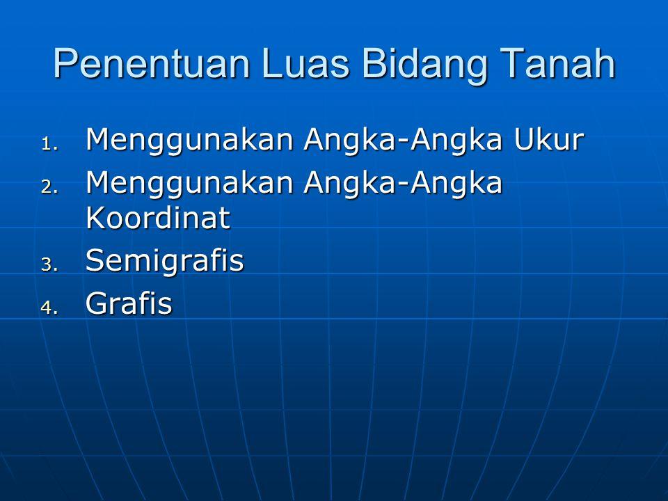 Penentuan Luas Bidang Tanah 1. Menggunakan Angka-Angka Ukur 2. Menggunakan Angka-Angka Koordinat 3. Semigrafis 4. Grafis