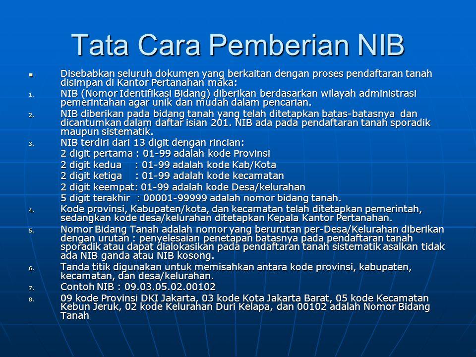 Tata Cara Pemberian NIB  Disebabkan seluruh dokumen yang berkaitan dengan proses pendaftaran tanah disimpan di Kantor Pertanahan maka: 1. NIB (Nomor