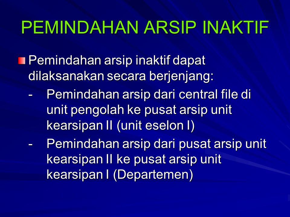 PEMINDAHAN ARSIP INAKTIF Pemindahan arsip inaktif dapat dilaksanakan secara berjenjang: - Pemindahan arsip dari central file di unit pengolah ke pusat arsip unit kearsipan II (unit eselon I) -Pemindahan arsip dari pusat arsip unit kearsipan II ke pusat arsip unit kearsipan I (Departemen)