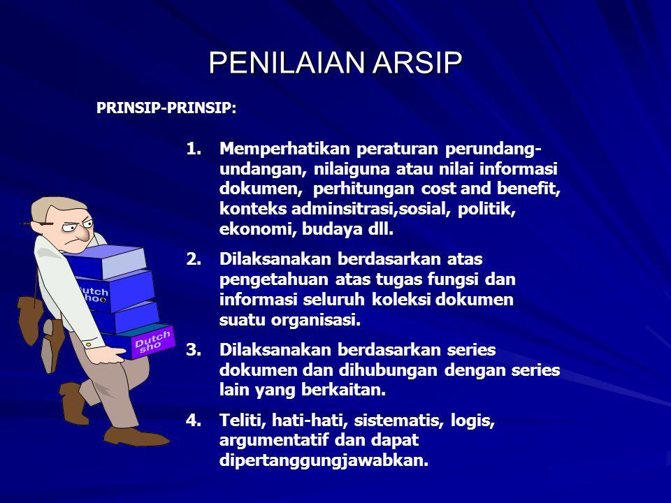 PENILAIAN ARSIP PRINSIP-PRINSIP: 1.Memperhatikan peraturan perundang- undangan, nilaiguna atau nilai informasi dokumen, perhitungan cost and benefit, konteks adminsitrasi,sosial, politik, ekonomi, budaya dll.