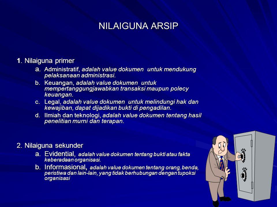 NILAIGUNA ARSIP 1. Nilaiguna primer a. Administratif, adalah value dokumen untuk mendukung pelaksanaan administrasi. b. Keuangan, adalah value dokumen