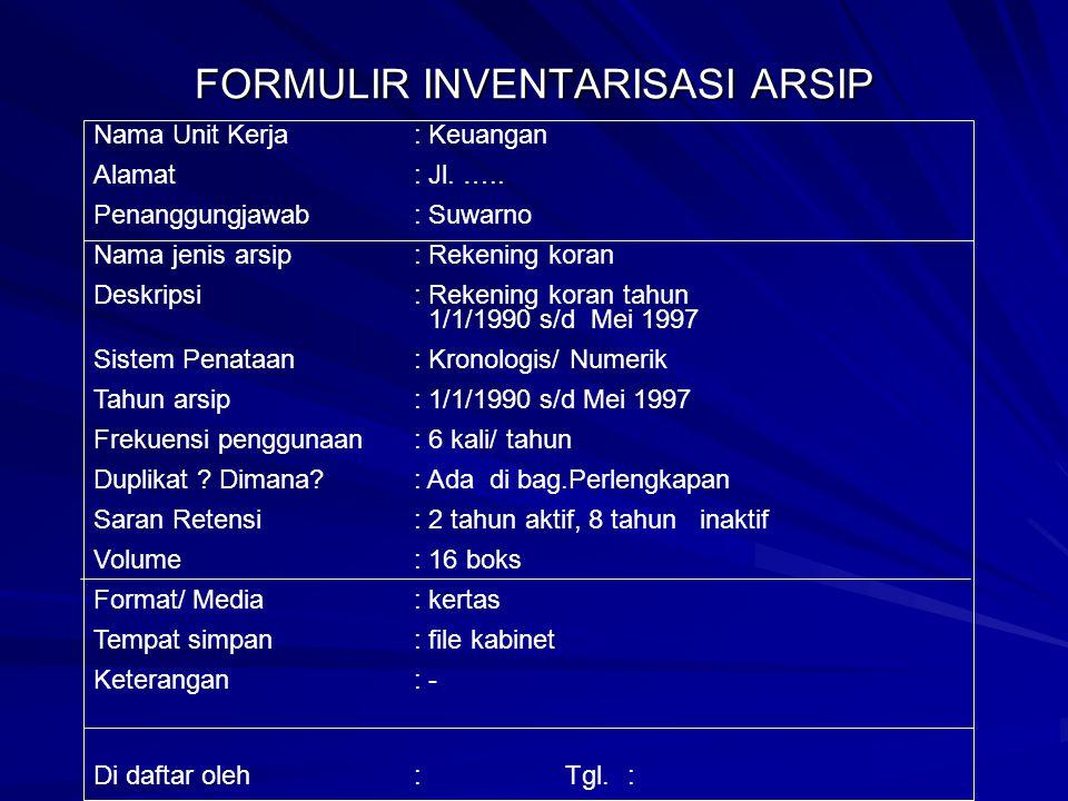 FORMULIR INVENTARISASI ARSIP Nama Unit Kerja: Keuangan Alamat: Jl.