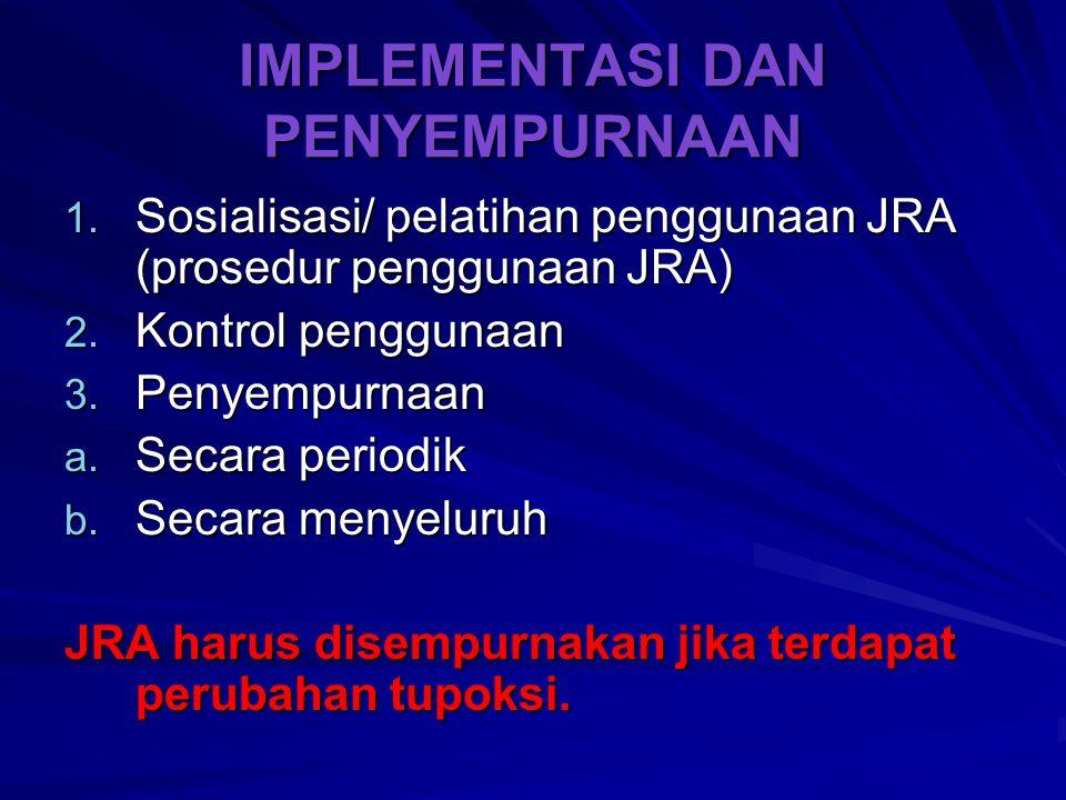 IMPLEMENTASI DAN PENYEMPURNAAN 1. Sosialisasi/ pelatihan penggunaan JRA (prosedur penggunaan JRA) 2. Kontrol penggunaan 3. Penyempurnaan a. Secara per
