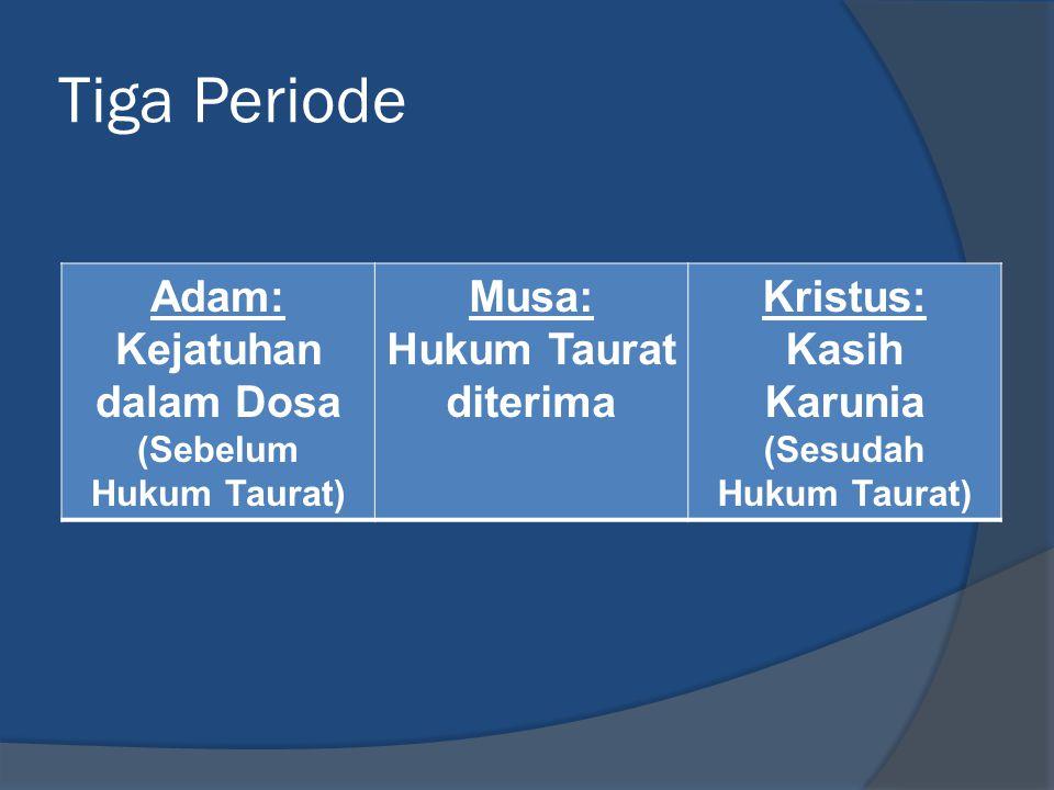 Tiga Periode Adam: Kejatuhan dalam Dosa (Sebelum Hukum Taurat) Musa: Hukum Taurat diterima Kristus: Kasih Karunia (Sesudah Hukum Taurat)