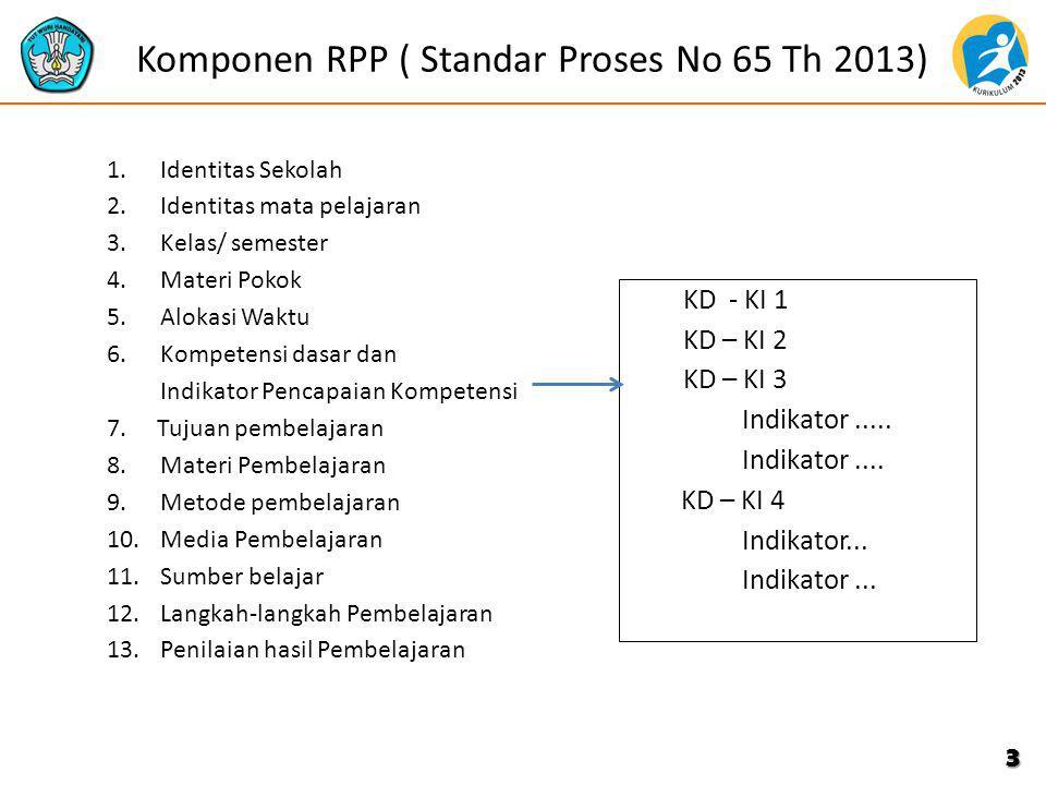 Komponen RPP ( Standar Proses No 65 Th 2013) 1.Identitas Sekolah 2.Identitas mata pelajaran 3.Kelas/ semester 4.Materi Pokok 5.Alokasi Waktu 6.Kompete