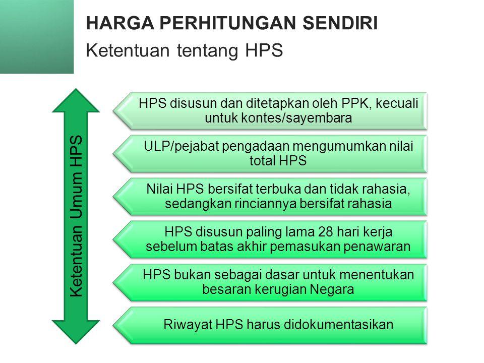 HARGA PERHITUNGAN SENDIRI Ketentuan tentang HPS 22 HPS disusun dan ditetapkan oleh PPK, kecuali untuk kontes/sayembara ULP/pejabat pengadaan mengumumkan nilai total HPS Nilai HPS bersifat terbuka dan tidak rahasia, sedangkan rinciannya bersifat rahasia HPS disusun paling lama 28 hari kerja sebelum batas akhir pemasukan penawaran HPS bukan sebagai dasar untuk menentukan besaran kerugian Negara Riwayat HPS harus didokumentasikan Ketentuan Umum HPS