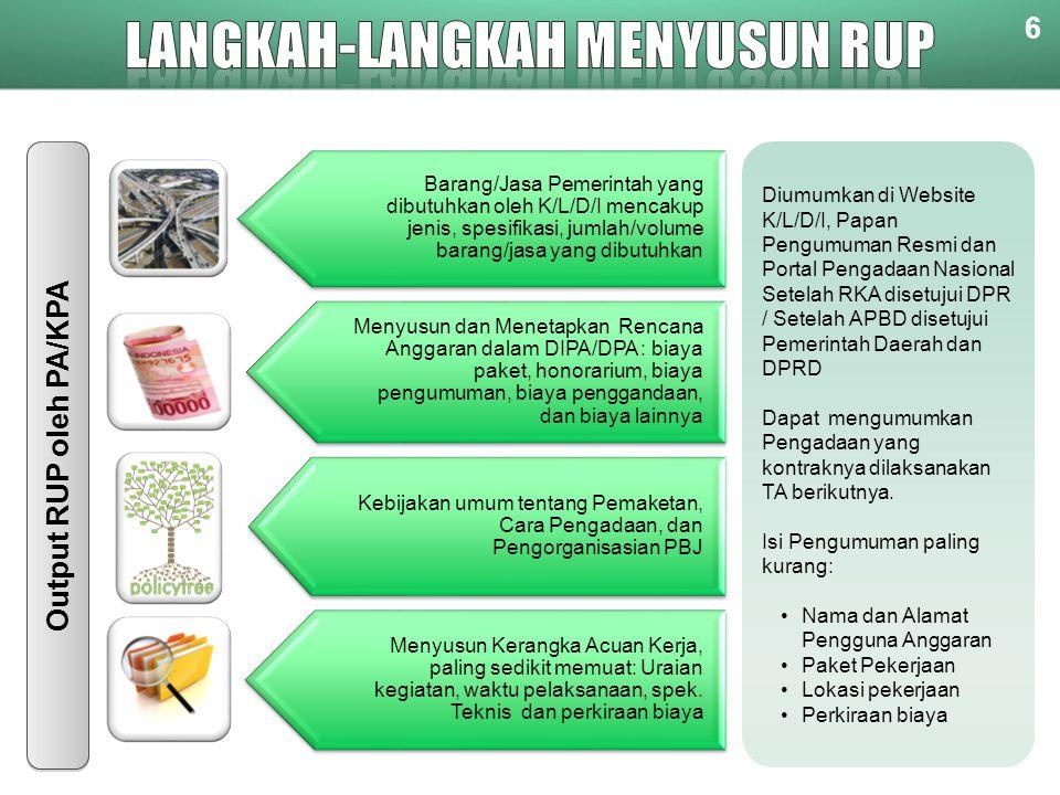 6 Diumumkan di Website K/L/D/I, Papan Pengumuman Resmi dan Portal Pengadaan Nasional Setelah RKA disetujui DPR / Setelah APBD disetujui Pemerintah Daerah dan DPRD Dapat mengumumkan Pengadaan yang kontraknya dilaksanakan TA berikutnya.