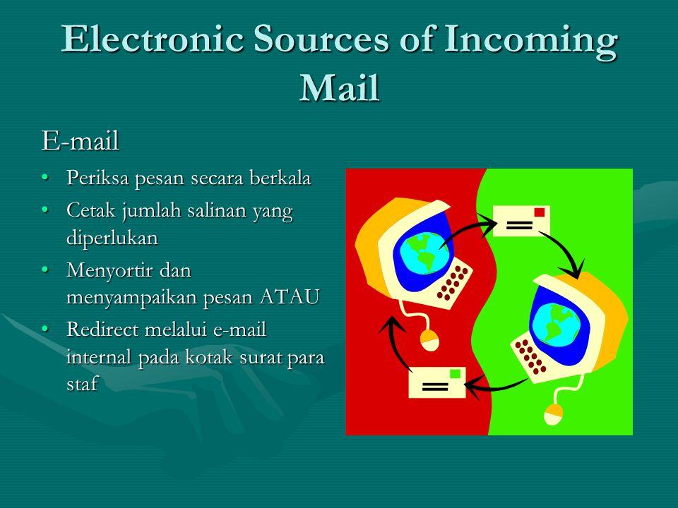 Electronic Sources of Incoming Mail Voicemail •Periksa secara berkala •Perhatikan pesan pada formulir pesan •Pilih/pilah pesan ke departemen •Sampaikan pesan seperti pada prosedur untuk surat masuk
