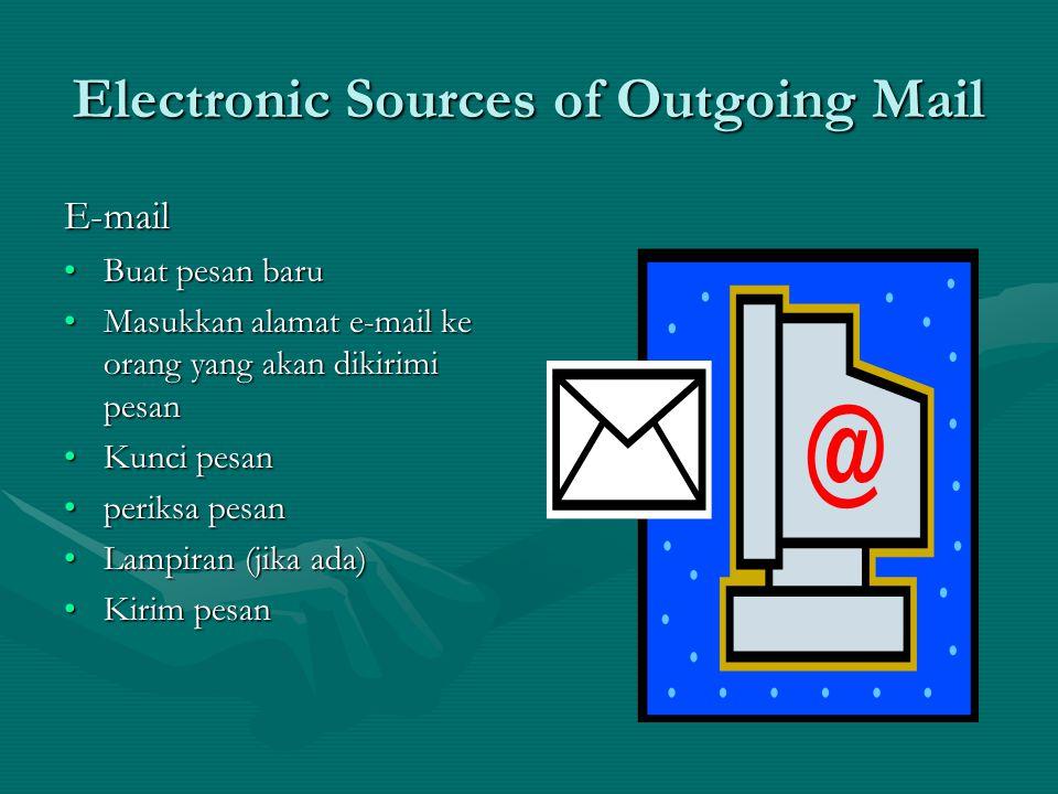 Mail Handling How do we deal with Outgoing Mail (2) •Timbang surat atau paket •Cap amplop / paket •Mengirim surat ke kantor pos