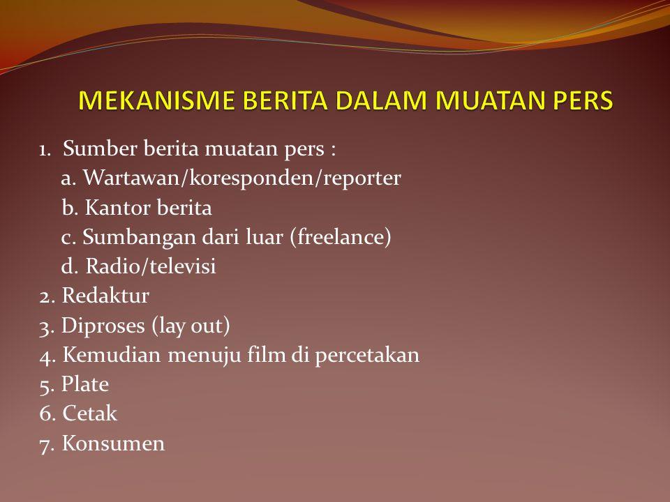 1.Sumber berita muatan pers : a. Wartawan/koresponden/reporter b.