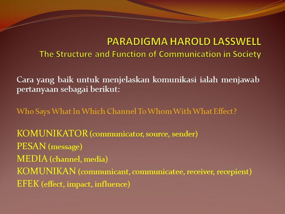 Cara yang baik untuk menjelaskan komunikasi ialah menjawab pertanyaan sebagai berikut: Who Says What In Which Channel To Whom With What Effect.