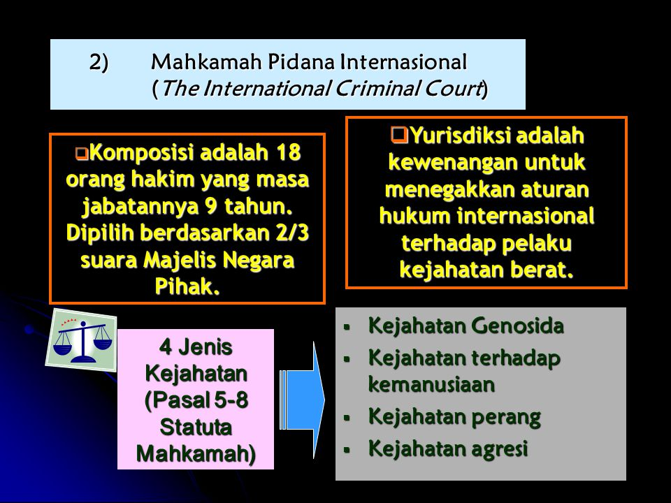  Komposisi adalah 18 orang hakim yang masa jabatannya 9 tahun.