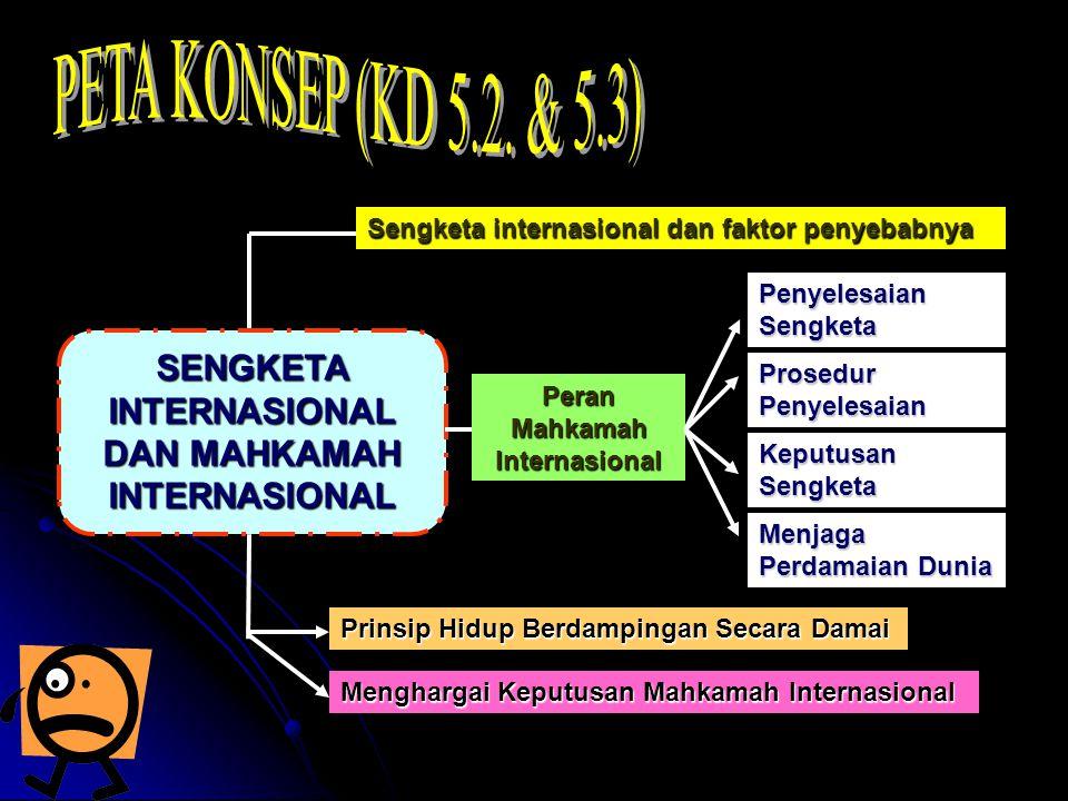 Sengketa internasional dan faktor penyebabnya SENGKETA INTERNASIONAL DAN MAHKAMAH INTERNASIONAL Peran Mahkamah Internasional Penyelesaian Sengketa Prosedur Penyelesaian Keputusan Sengketa Menjaga Perdamaian Dunia Prinsip Hidup Berdampingan Secara Damai Menghargai Keputusan Mahkamah Internasional