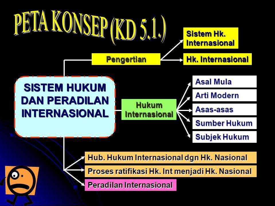 1.Sistem Hukum dan Peradilan Internasional a.Sistem Hukum Internasional Sistem hukum internasional, adalah satu kesatuan hukum yang berlaku untuk komunitas internasional (semua negara-negara di dunia) yang harus dipatuhi dan diataati oleh setiap negara.