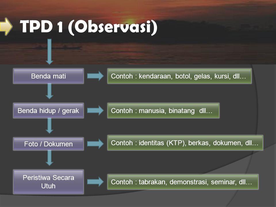 TPD 1 (Observasi) Peristiwa Secara Utuh Foto / Dokumen Benda hidup / gerak Benda matiContoh : kendaraan, botol, gelas, kursi, dll… Contoh : manusia, b