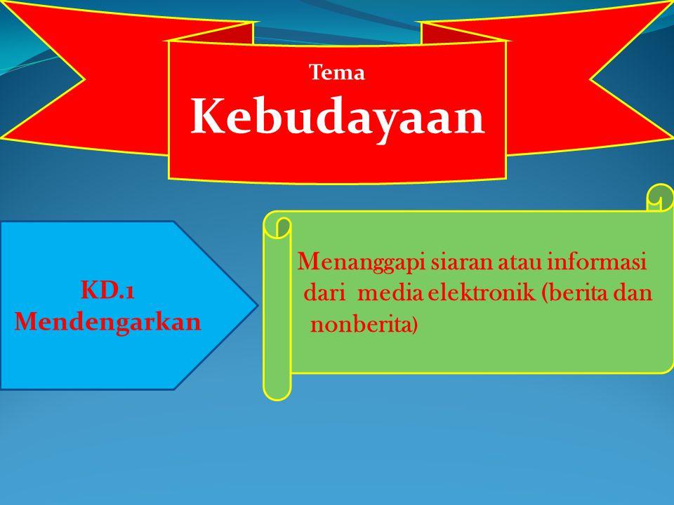Tema Kebudayaan KD.1 Mendengarkan Menanggapi siaran atau informasi dari media elektronik (berita dan nonberita )