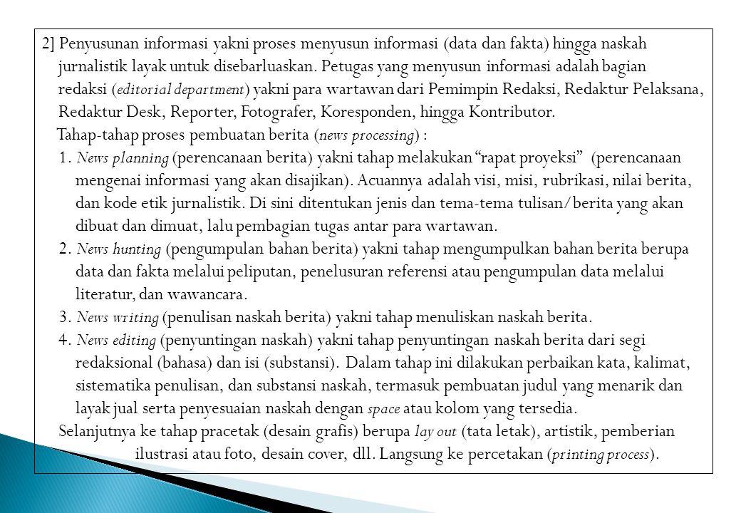 3] Penyebarluasan informasi yakni penyebarluasan informasi yang sudah dikemas dalam bentuk media massa (cetak maupun online).