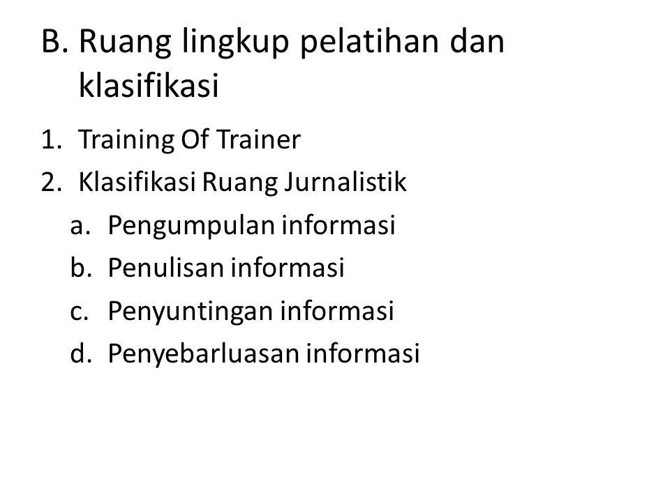 B. Ruang lingkup pelatihan dan klasifikasi 1.Training Of Trainer 2.Klasifikasi Ruang Jurnalistik a.Pengumpulan informasi b.Penulisan informasi c.Penyu