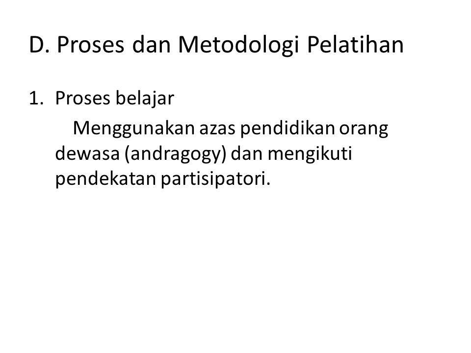 D. Proses dan Metodologi Pelatihan 1.Proses belajar Menggunakan azas pendidikan orang dewasa (andragogy) dan mengikuti pendekatan partisipatori.