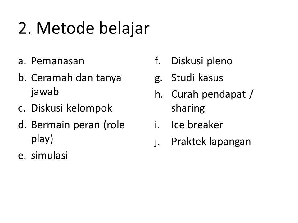 2. Metode belajar a.Pemanasan b.Ceramah dan tanya jawab c.Diskusi kelompok d.Bermain peran (role play) e.simulasi f.Diskusi pleno g.Studi kasus h.Cura