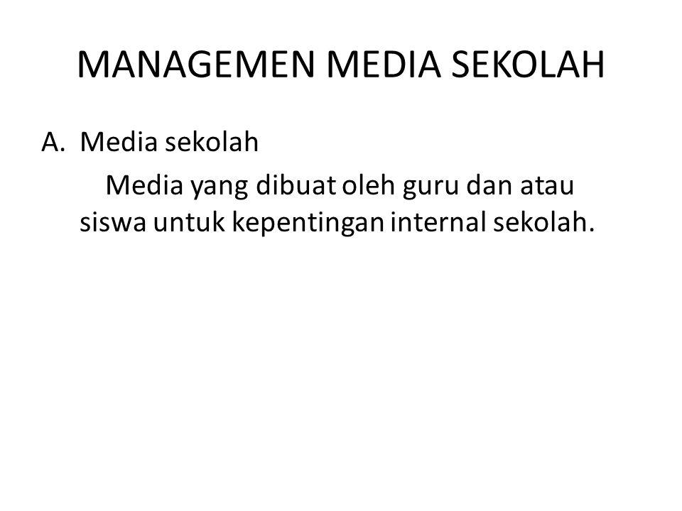 MANAGEMEN MEDIA SEKOLAH A.Media sekolah Media yang dibuat oleh guru dan atau siswa untuk kepentingan internal sekolah.