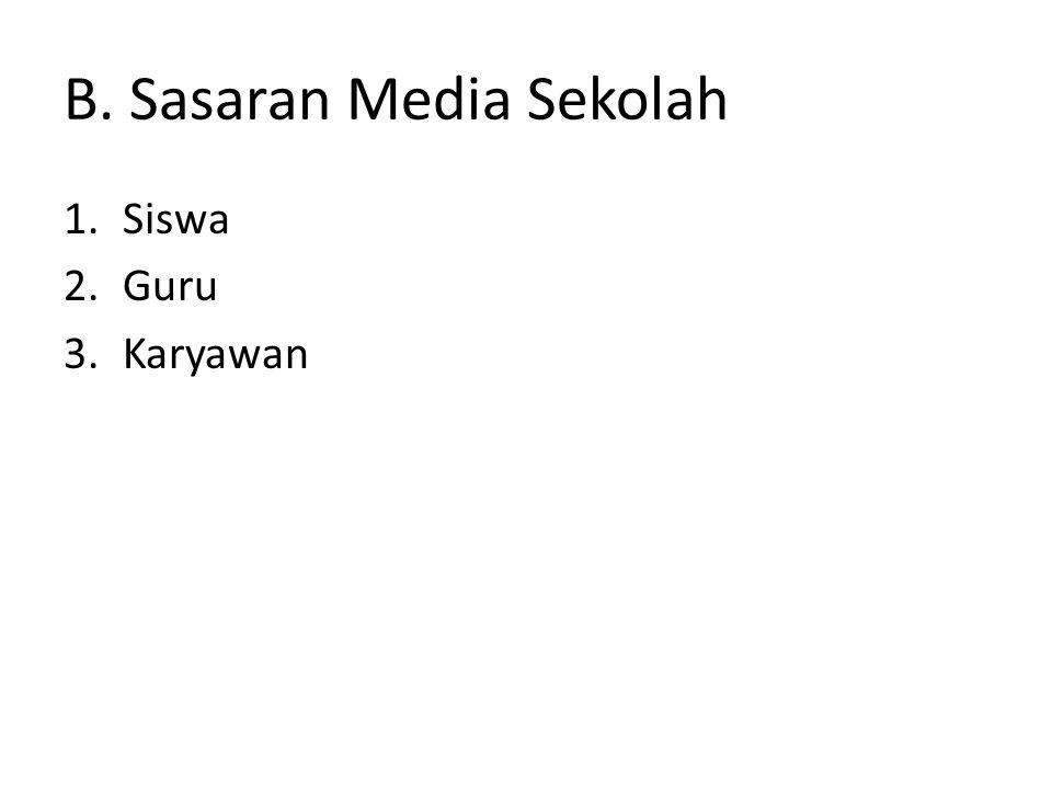 B. Sasaran Media Sekolah 1.Siswa 2.Guru 3.Karyawan