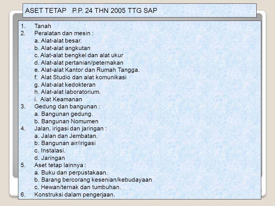 21 ASET TETAP P.P. 24 THN 2005 TTG SAP 1.Tanah 2.Peralatan dan mesin : a. Alat-alat besar. b. Alat-alat angkutan c. Alat-alat bengkel dan alat ukur d.