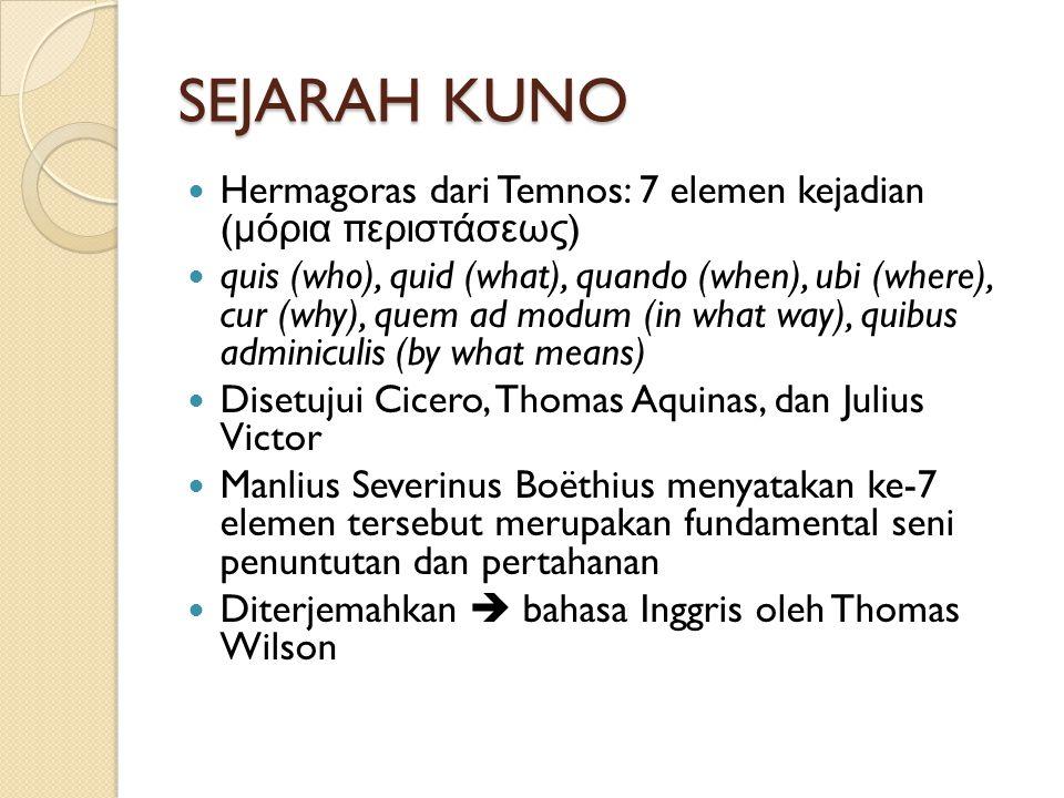 SEJARAH KUNO  Hermagoras dari Temnos: 7 elemen kejadian ( μόρια περιστάσεως )  quis (who), quid (what), quando (when), ubi (where), cur (why), quem ad modum (in what way), quibus adminiculis (by what means)  Disetujui Cicero, Thomas Aquinas, dan Julius Victor  Manlius Severinus Boëthius menyatakan ke-7 elemen tersebut merupakan fundamental seni penuntutan dan pertahanan  Diterjemahkan  bahasa Inggris oleh Thomas Wilson