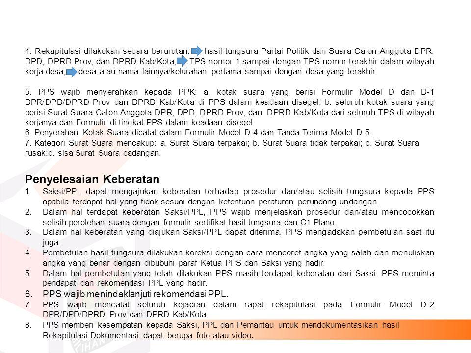 REKAPITULASI HASIL PENGHITUNGAN PEROLEHAN SUARA DI KECAMATAN Pasal 188 UU 8/2012  (1) PPK membuat BA penerimaan hasil tungsura Partai Politik dan perolehan suara calon anggota DPR, DPD, DPRD prov, dan DPRD kab/kota dari PPS.