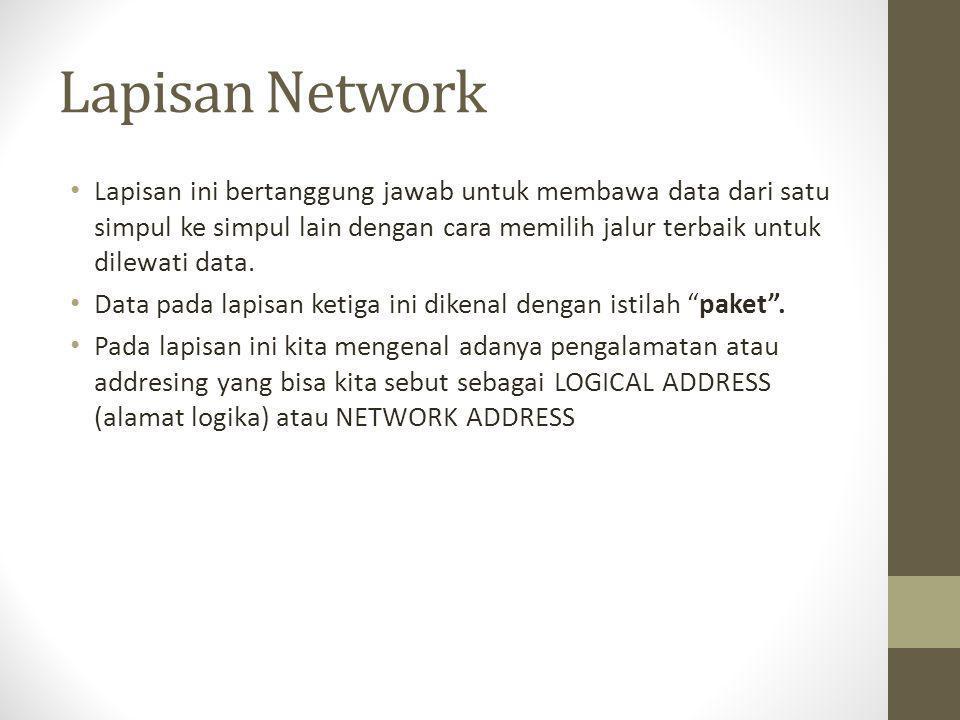 Lapisan Network • Lapisan ini bertanggung jawab untuk membawa data dari satu simpul ke simpul lain dengan cara memilih jalur terbaik untuk dilewati da